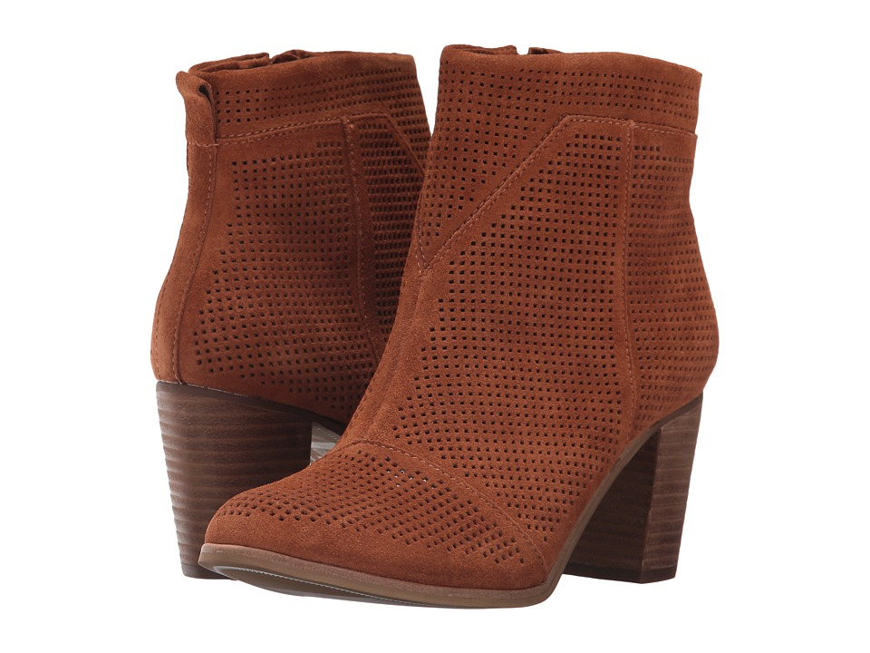 TOMS Lunata Bootie (Cinnamon Suede Perforated) Women