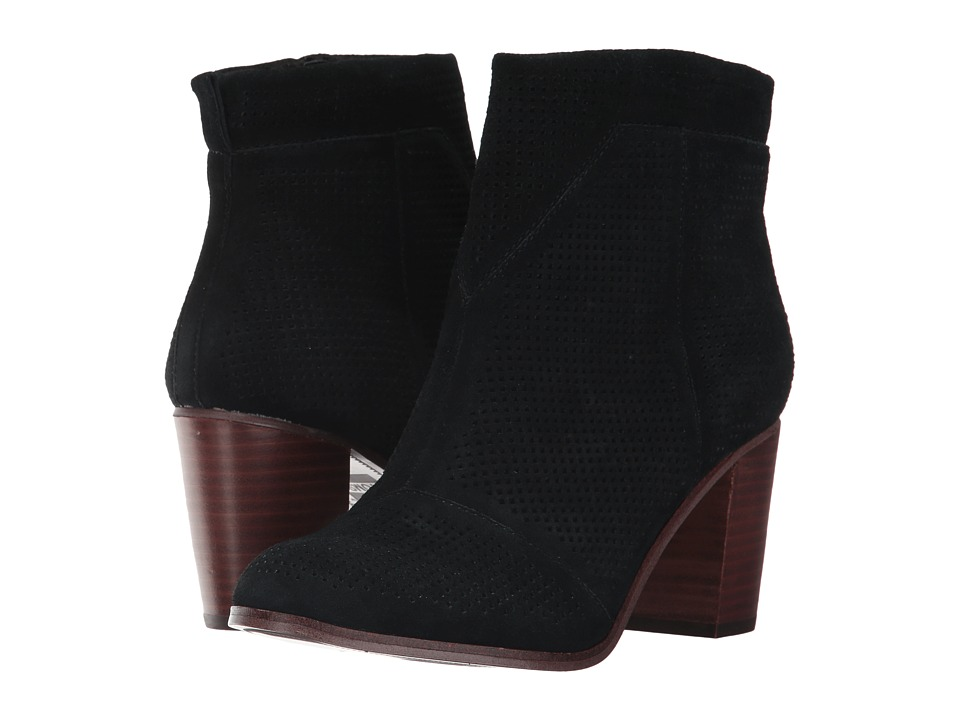 TOMS Lunata Bootie (Black Suede Perforated) Women