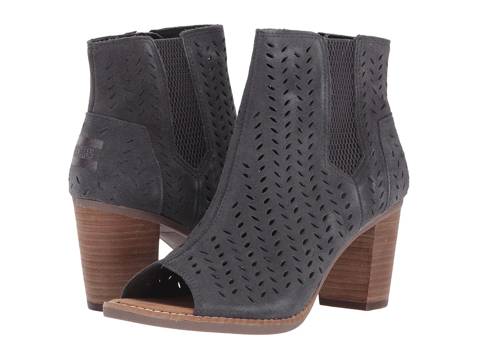 TOMS Majorca Peep Toe Bootie (Forged Iron Grey Suede Perforated) Women