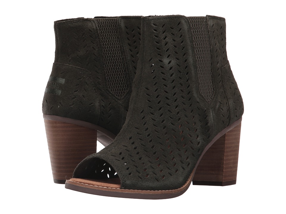 TOMS Majorca Peep Toe Bootie (Forest Suede Perforated Leaf) Women