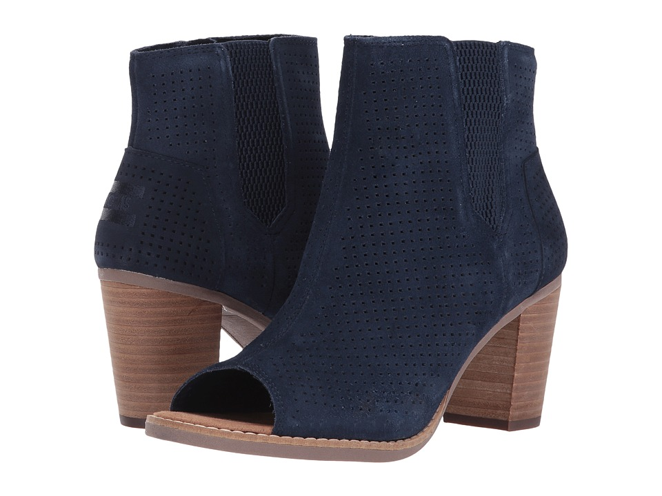 TOMS Majorca Peep Toe Bootie (Navy Suede Perforated) Women