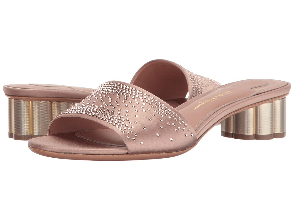 Salvatore Ferragamo Satin Low-Heel Pump With Crystals (New Blush Satin) Women