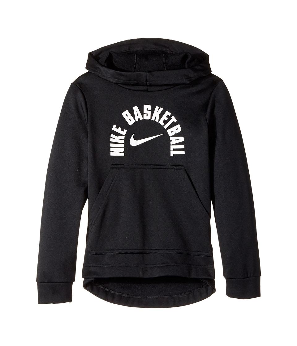 Nike Kids - Therma Basketball Pullover Hoodie (Little Kids/Big Kids) (Black/White) Boys Sweatshirt