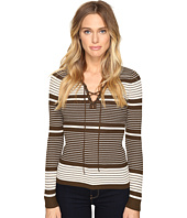 ROMEO & JULIET COUTURE - Long Sleeve Rib Lace-Up Sweater Top