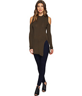 ROMEO & JULIET COUTURE - Cold Shoulder Front Slit Knit Top