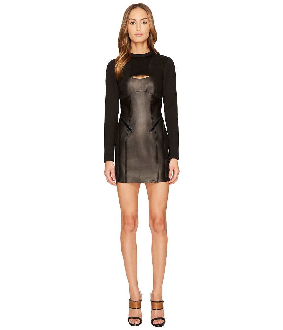 DSQUARED2 Patent Leather and Neoprene Dress (Black) Women