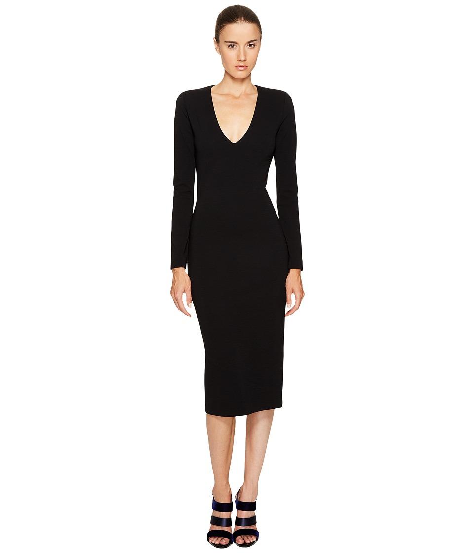DSQUARED2 Wool Jersey Long Sleeve Dress (Black) Women