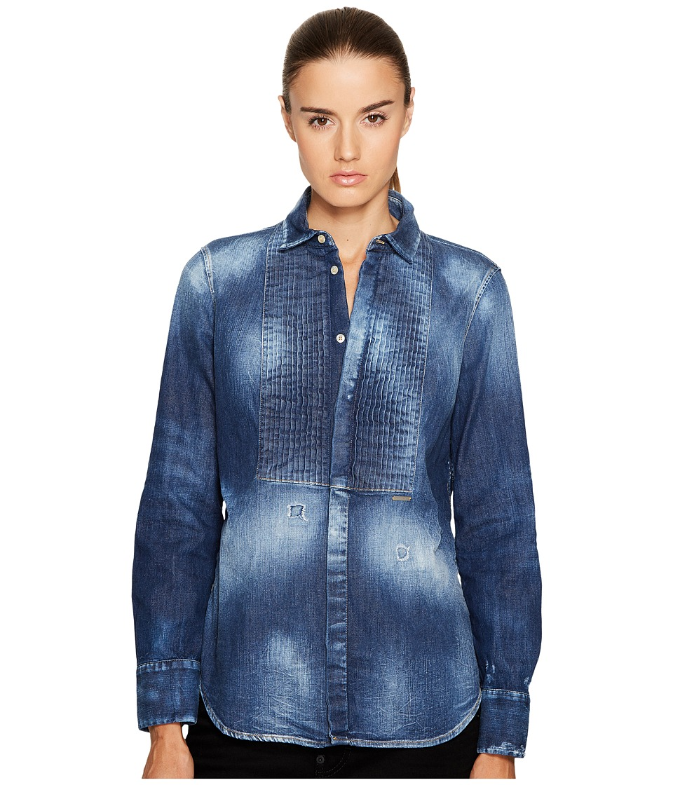 DSQUARED2 Stretch Denim Shirt with Bib Detail (Blue) Wome...