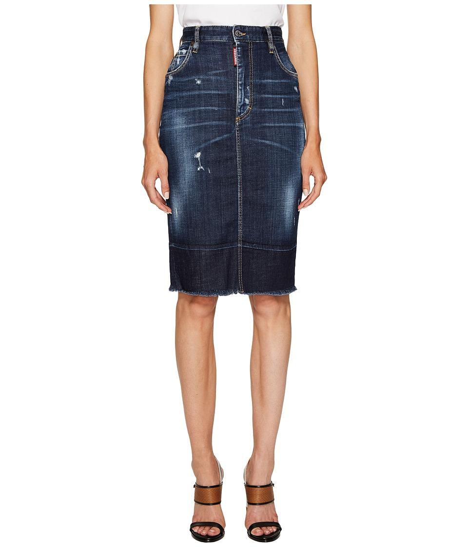 DSQUARED2 Best Blue Wash Dalma Long Skirt (Blue) Women's ...