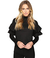 ROMEO & JULIET COUTURE - Textured Long Ruffle Sleeve Neck Top