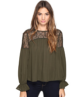 ROMEO & JULIET COUTURE - Long Sleeve Solid Lace-Up Top