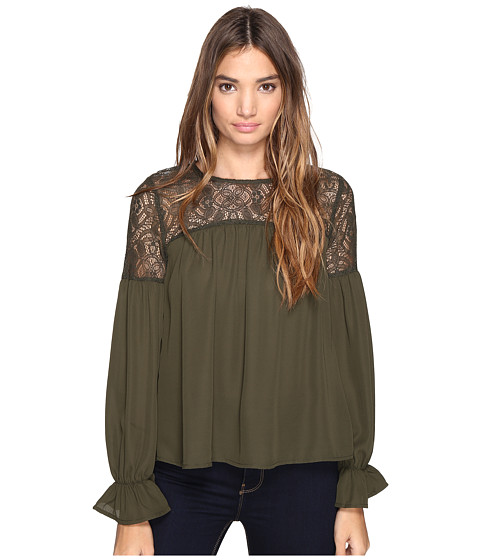 ROMEO & JULIET COUTURE Long Sleeve Solid Lace-Up Top