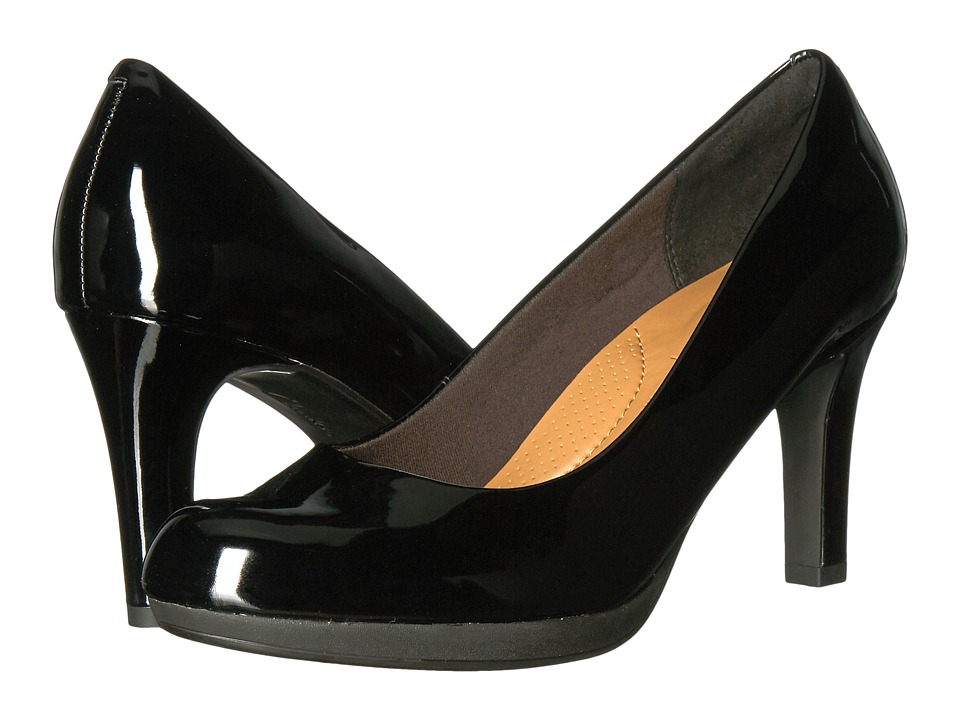 1950s Style Shoes Clarks Adriel Viola Black Patent High Heels $90.00 AT vintagedancer.com