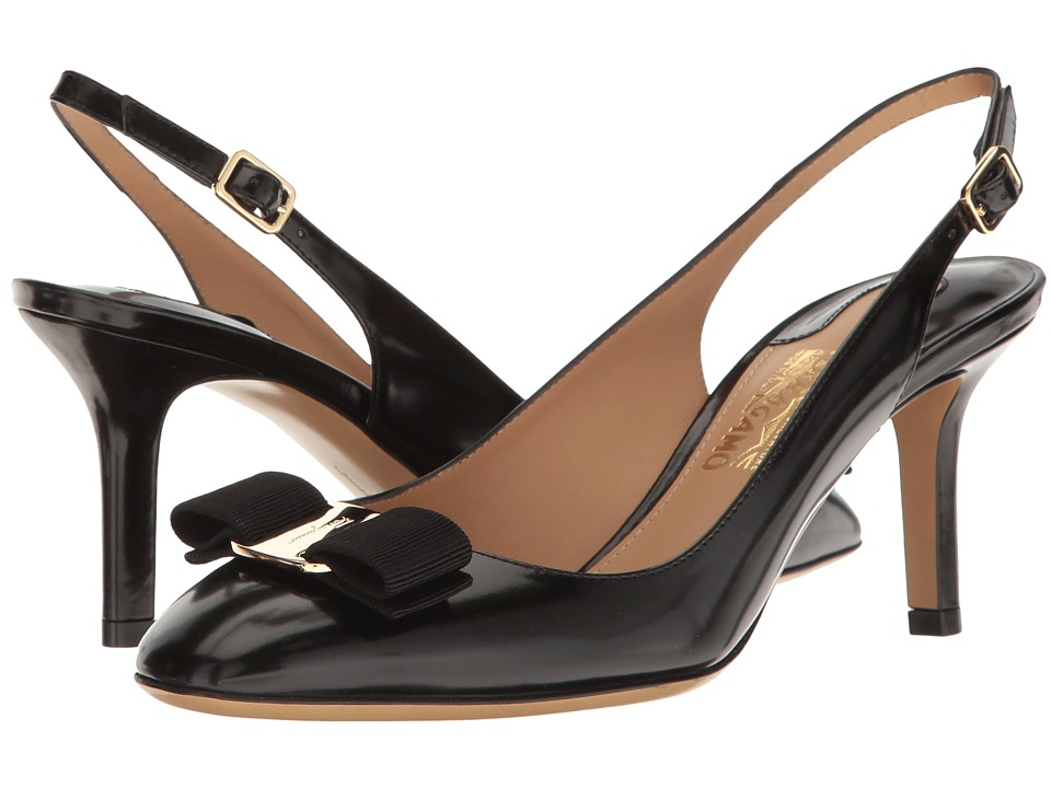 Salvatore Ferragamo Calfskin Mid-Heel Slingback Pump (Nero High Polished Calf) High Heels