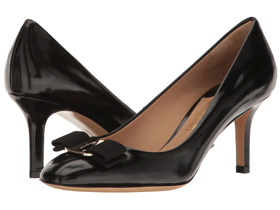 Salvatore Ferragamo Calfskin Mid-Heel Pump (Nero High Polished Calf) High Heels