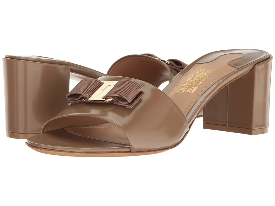 Salvatore Ferragamo Calfskin Mid-Heel Sandal (Clay High Polished Calf) High Heels