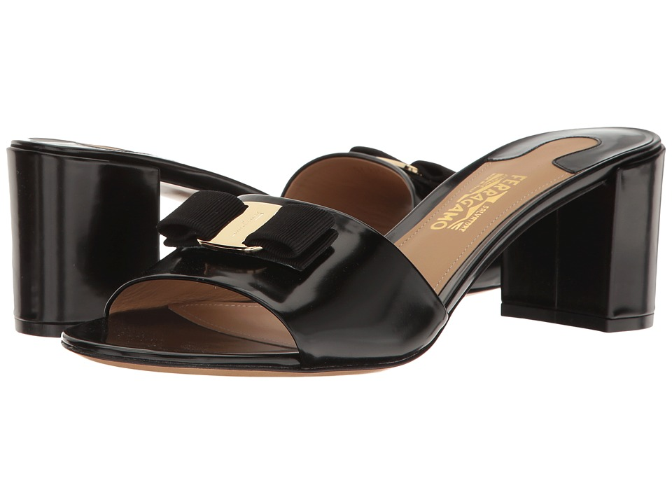 Salvatore Ferragamo Calfskin Mid-Heel Sandal (Nero High Polished Calf) High Heels