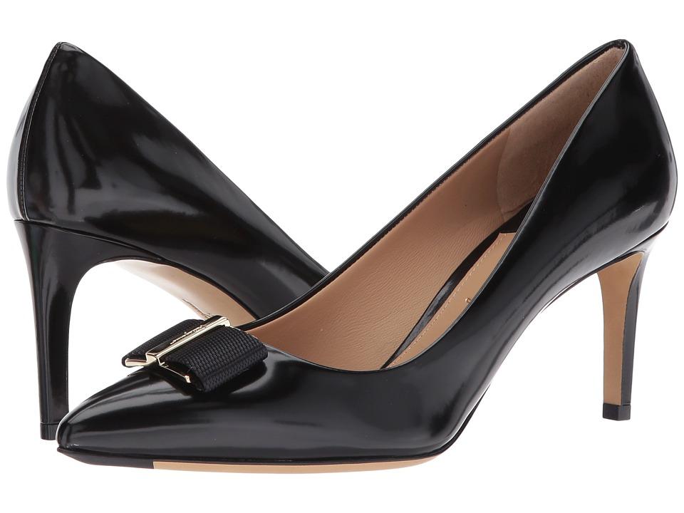Salvatore Ferragamo Calfskin Mid-Heel Pump (Nero High Polished Calf) High Heels