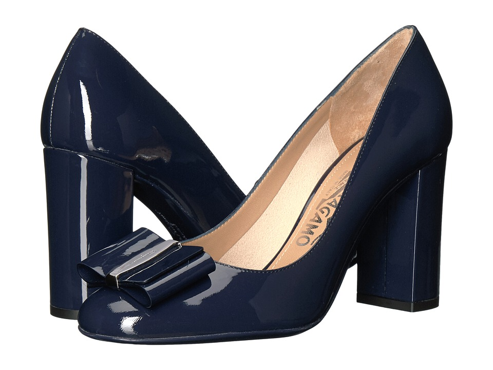 Salvatore Ferragamo Elinda 85 2 (Mirto Patent Leather) High Heels