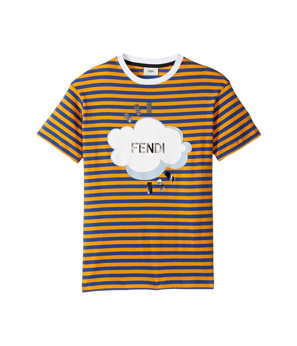 Fendi Kids - Short Sleeve Logo Graphic Striped T-Shirt