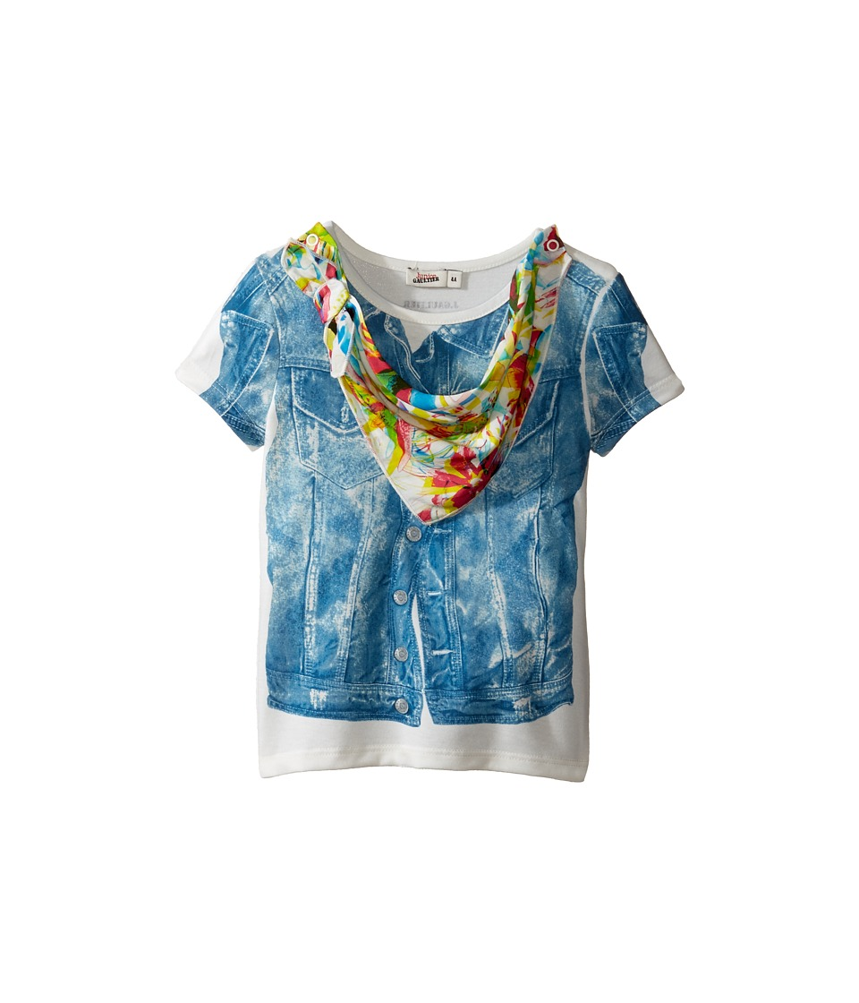 Junior Gaultier - Top with Denim Vest Print and Floral Bandana