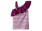 Junior Gaultier - Purple and White Striped Top with Ruffle (Toddler/Little Kids)