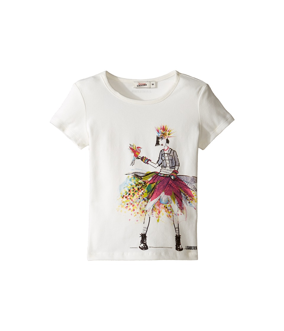 Junior Gaultier - Top with Image of Girl in Denim Jacket and Multicolored Skirt