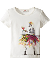 Junior Gaultier - Top with Image of Girl in Denim Jacket and Multicolored Skirt (Toddler/Little Kids)