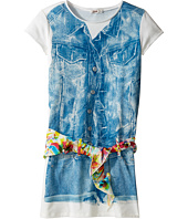 Junior Gaultier - Dress with Image of Denim Romper and Floral Scarf Belt (Big Kids)