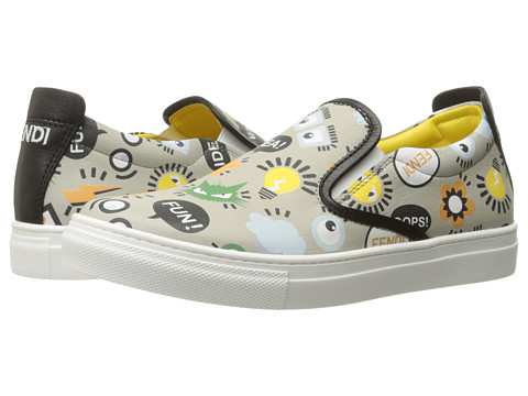Fendi Kids All Over Print Slip-On Sneakers (Big Kid) - Grey