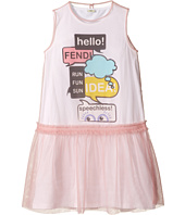 Fendi Kids - Text Message Graphic Dress w/ Tulle Overlay (Big Kids)
