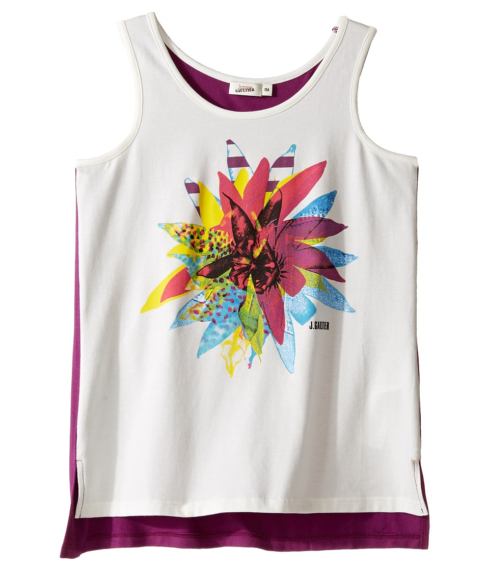Junior Gaultier - White Tank Top with Flower Over A Purple Tank Top