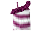Junior Gaultier - Purple and White Striped Top with Ruffle (Big Kids)