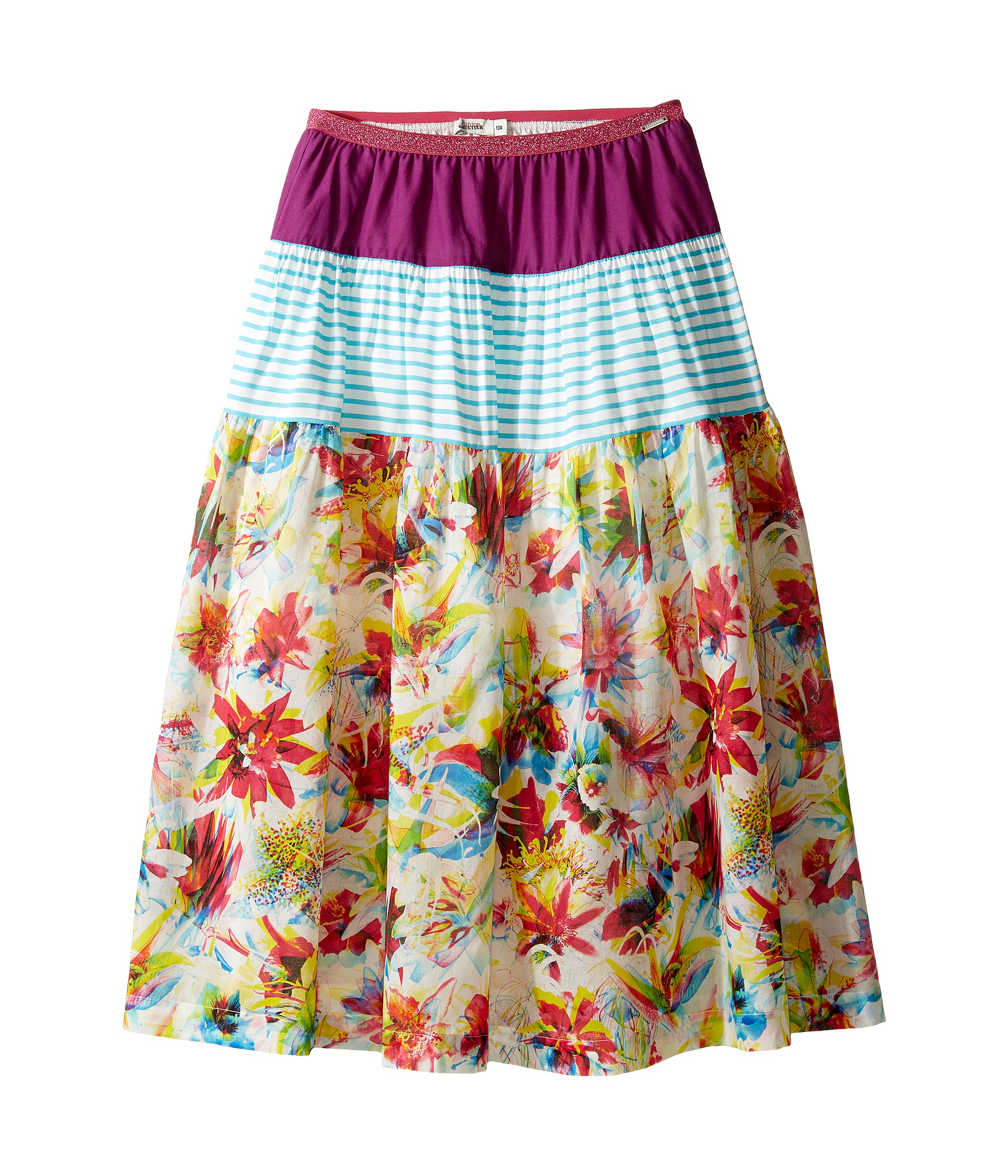 Junior Gaultier Purple Blue and White Stripes Floral Print 3 Tiered Skirt (Big Kids) at Zappos.com