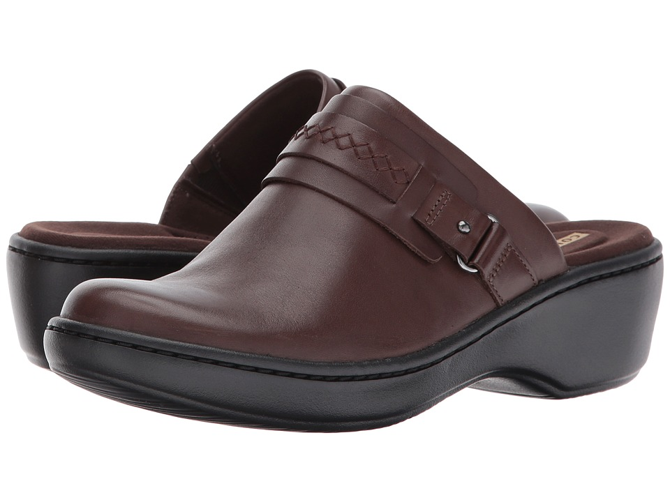 Clarks Delana Amber (Dark Brown Leather) Clogs