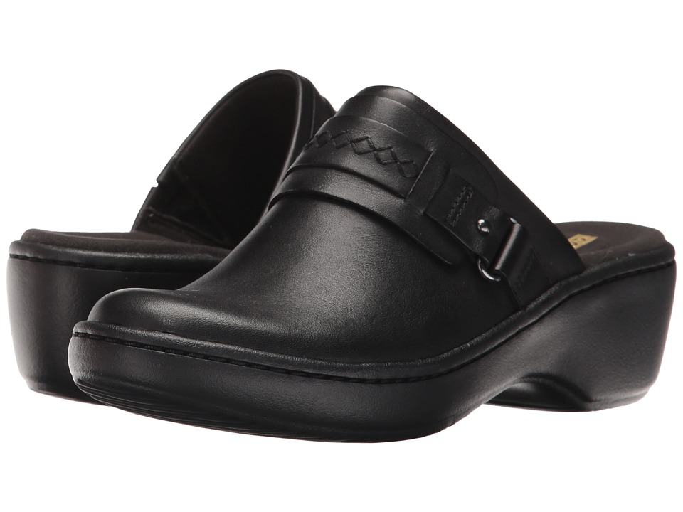 Clarks Delana Amber (Black Leather) Clogs