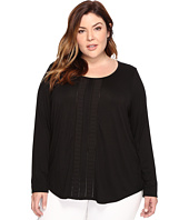 NYDJ Plus Size - Plus Size Knit and Woven Pleated Top