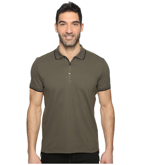 Kenneth Cole Sportswear Polo with Tipping - Army Green