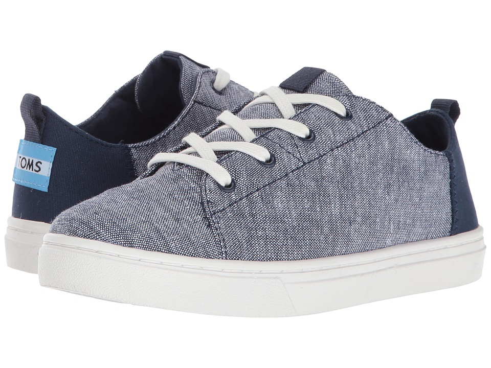 TOMS Kids Lenny (Little Kid/Big Kid) (Navy Slub Chambray) Kid's Shoes