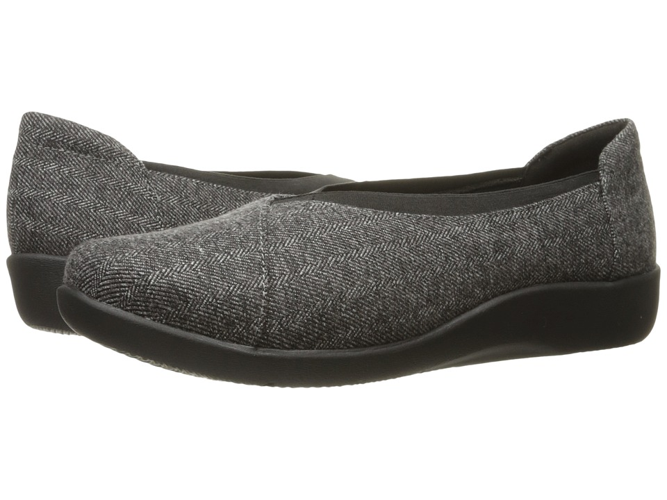 Clarks Sillian Holly (Grey Tweed) Women's Slip on  Shoes