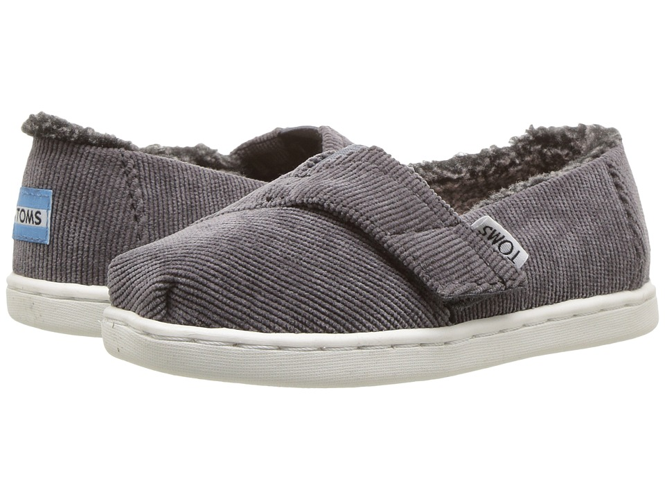 TOMS Kids Alpargata (Infant/Toddler/Little Kid) (Steel Gray Corduroy/Faux Shearling) Boy's Shoes