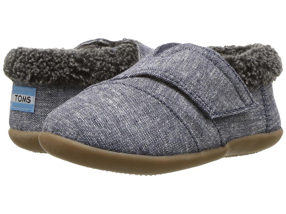 TOMS Kids House Slipper (Infant/Toddler/Little Kid) (Navy Chambray) Girls Shoes