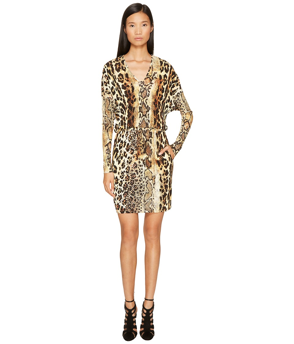 Just Cavalli Long Sleeve V-Neck Mixed Animal Print Jersey Dress (Natural) Women