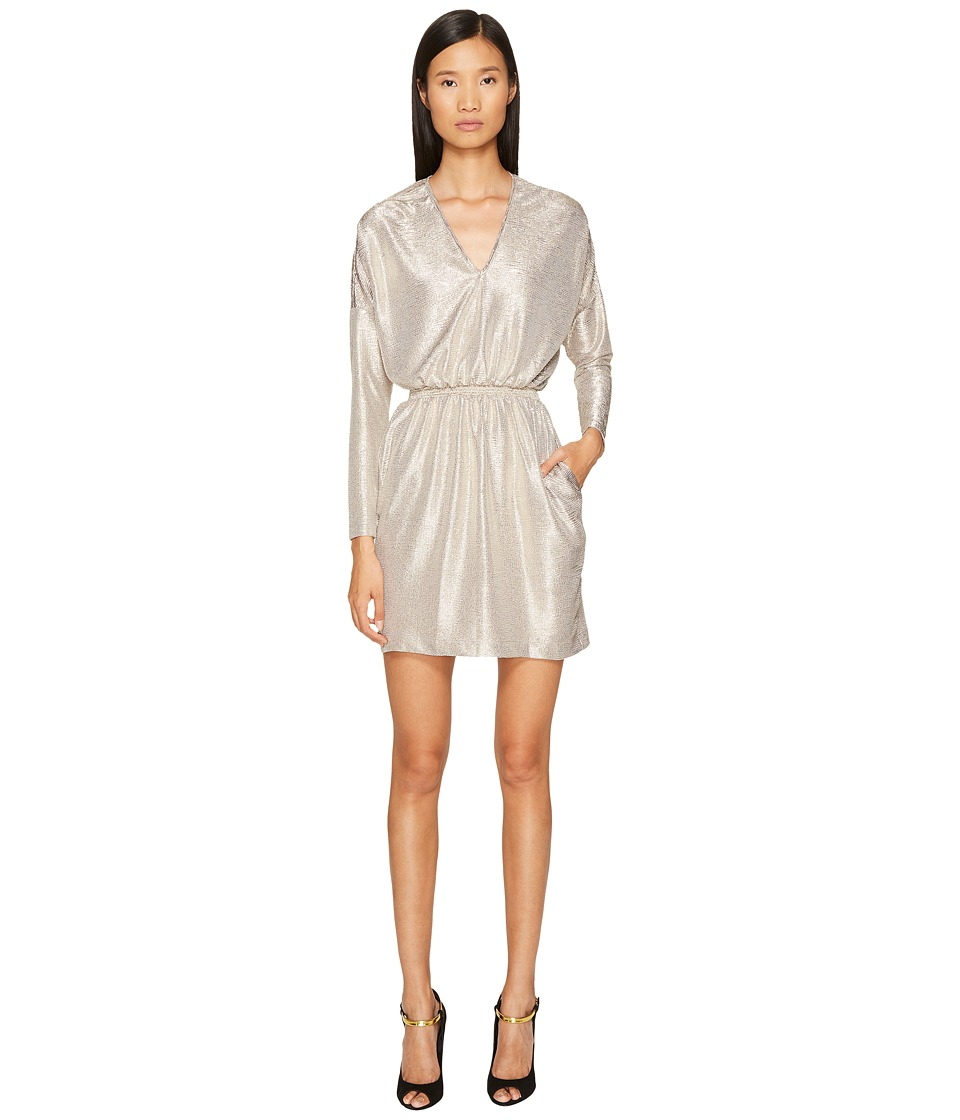 Just Cavalli Long Sleeve V-Neck Sparkled Dress (Gold) Women