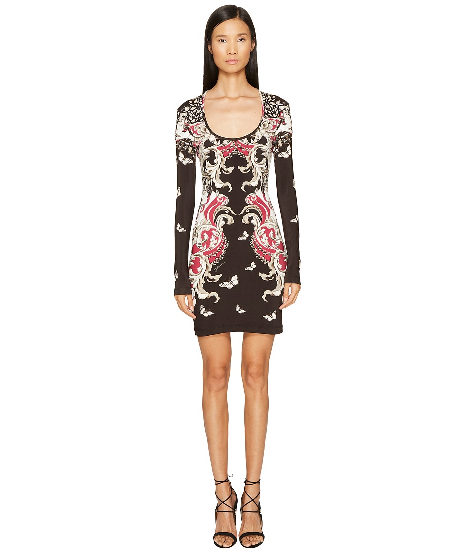 Just Cavalli Long Sleeve Uffizi Print Jersey Dress (Bordeaux) Women
