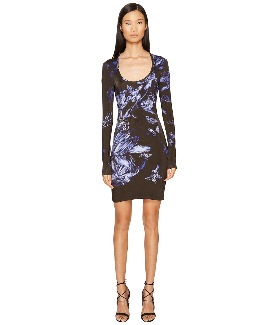 Just Cavalli Long Sleeve Tulip Heaven Print Jersey Dress (Blue China) Women
