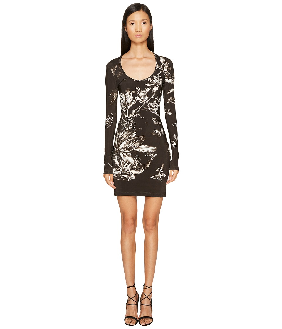 Just Cavalli Long Sleeve Tulip Heaven Print Jersey Dress (Black) Women