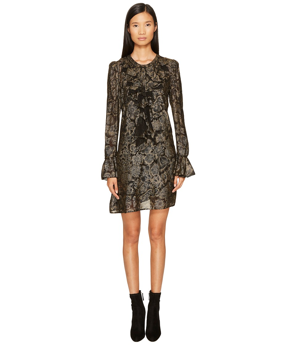 Just Cavalli Long Sleeve Metallic Print Dress (Black/Gold) Women