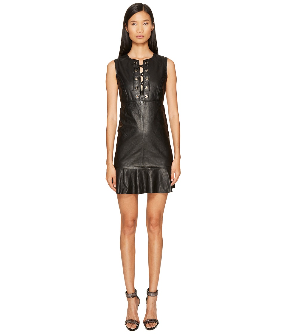 Just Cavalli Sleeveless Tiefront Leather Dress (Black) Women