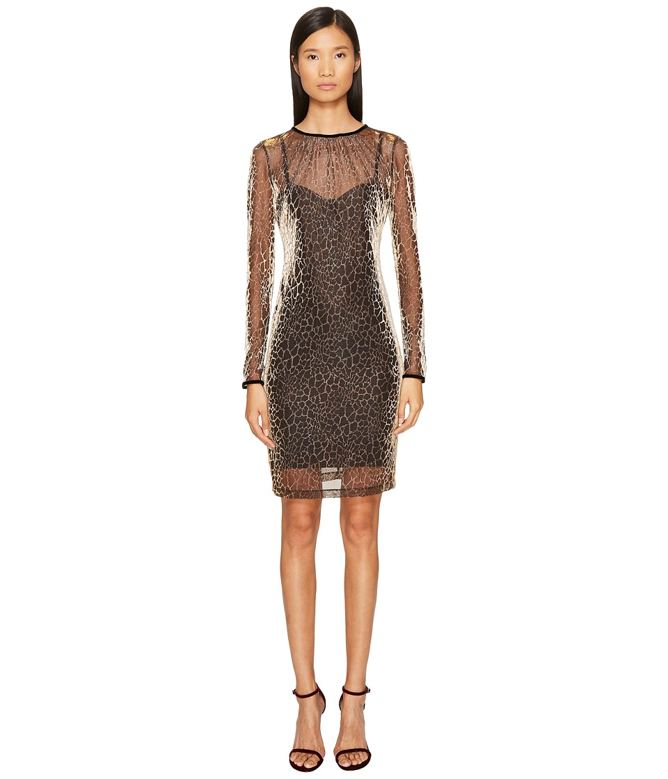 Just Cavalli Long Sleeve Cheetah Print Overlay Dress (Gold Variant) Women